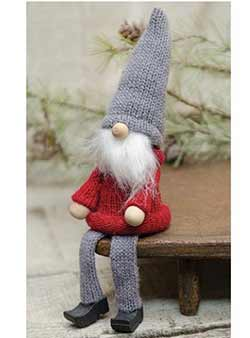 Gray and Red Sitting Gnome
