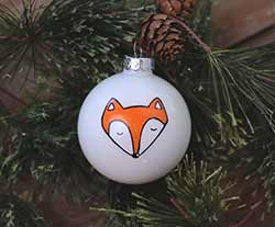 Fox Personalized Glass Ornament