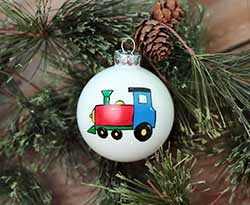Train Personalized Glass Ornament