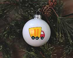 Dump Truck Personalized Glass Ornament
