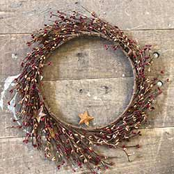 Red & Tea Stain Pip Berry Wreath with Rusty Stars (16 inch)