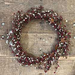 Red & Cream Pip Berry Wreath with Rusty Stars (16 inch)