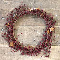 Red Pip Berry Wreath with Rusty Stars (16 inch)