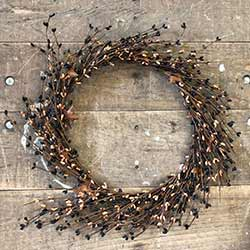 Black & Tea Stain Pip Berry Wreath with Rusty Stars (16 inch)