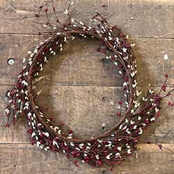 Red & Cream Pip Berry Wreath (16 inch)