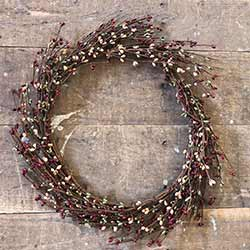 Red, Green, & Tea Stain Pip Berry Wreath (16 inch)