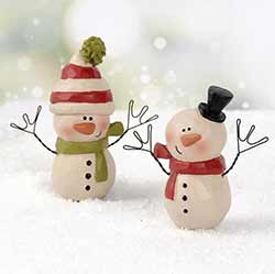 Snowman with Scarves and Hats (Set of 2)