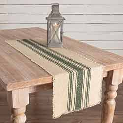 Vintage Burlap Stripe Green 48 inch Table Runner