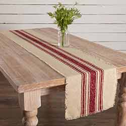 Vintage Burlap Stripe Red 72 inch Table Runner