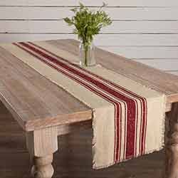 Vintage Burlap Stripe Red 90 inch Table Runner