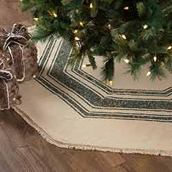 Vintage Burlap Stripe Green 60 inch Tree Skirt