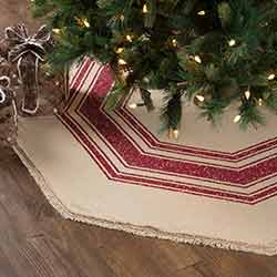 Vintage Burlap Stripe Red 55 inch Tree Skirt
