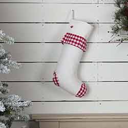 Emmie Red Check Ruffle 20 inch Stocking