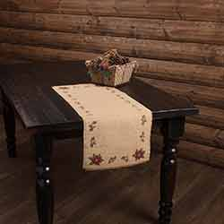 Jute Burlap Poinsettia 36 inch Table Runner