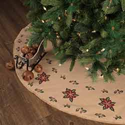 Jute Burlap Poinsettia 55 inch Tree Skirt