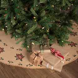 Jute Burlap Poinsettia 60 inch Tree Skirt