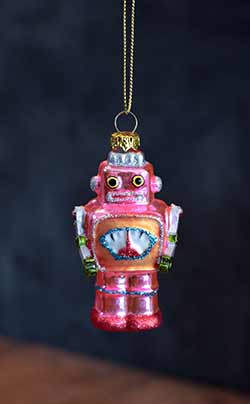 Mini Robot Ornament - Pink