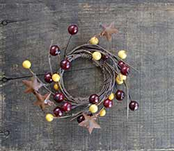 Burgundy & Gold Berry Candle Ring with Stars - 2 inch
