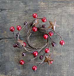 Burgundy & Red Berry Candle Ring with Stars - 2 inch