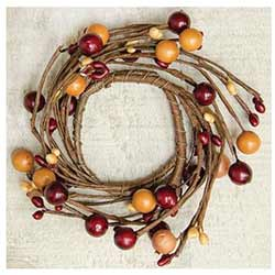 Burgundy & Old Gold Berry Candle Ring - 2 inch