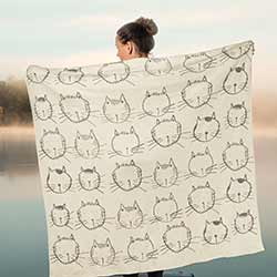 Cat Faces Knit Throw Blanket