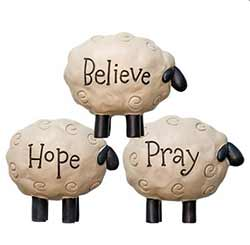 Hope, Believe, Pray Sheep (Set of 3)