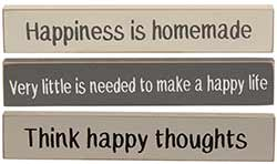 Happiness Mini Shelf Sitter Signs (Set of 3)