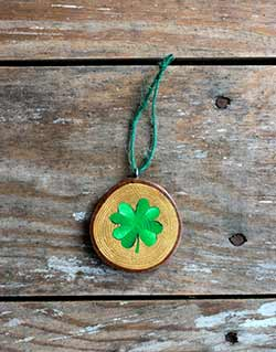Four Leaf Clover Wood Slice Ornament