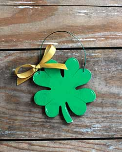 Shamrock Personalized Ornament - Gold Ribbon