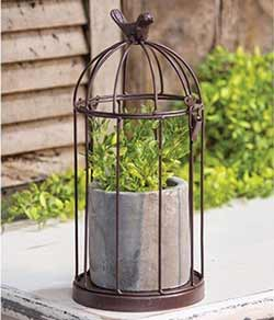 Wire Birdcage with Cement Pot