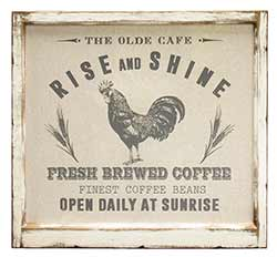 Rise and Shine Rooster Framed Sign