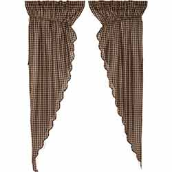 Black Check Scalloped Prairie Curtain Panels - 84 inch