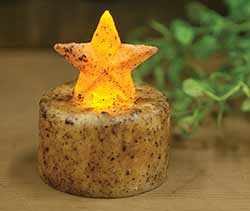 Burnt Ivory Star Timer Tealight Candle