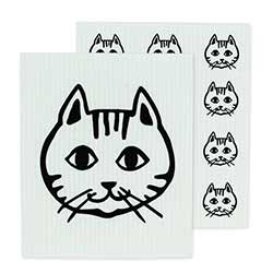Cat Faces Swedish Dish Cloths (Set of 2)