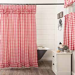Annie Buffalo Red Check Ruffled Shower Curtain