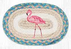 Pink Flamingo Braided Trivet - Oval