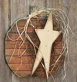 Lath Pumpkin Wall Hanger with Star