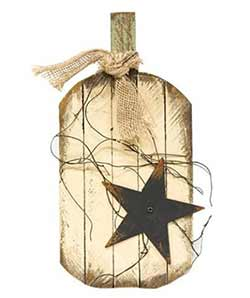 Lath Ivory Pumpkin Wall Hanger with Star - 16 inch