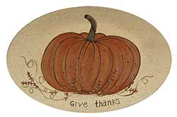 White Give Thanks Pumpkin Tray