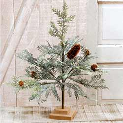 Icy Cedar Tree with Pine Cones - 18 inches.