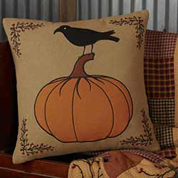 Heritage Farms Pumpkin and Crow Throw Pillow