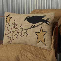 Kettle Grove Crow and Star Hooked Pillow