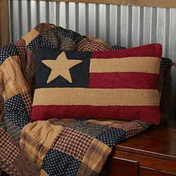 Patriotic Patch Flag Hooked Pillow