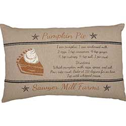 Sawyer Mill Charcoal Pumpkin Pie Recipe Pillow