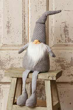 Gray Sitting Gnome Doll