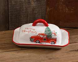 Farmhouse Christmas Covered Butter Dish
