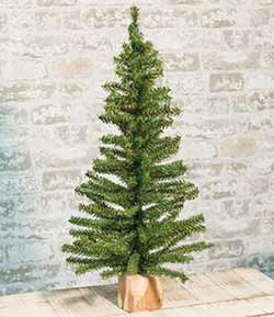 Tabletop Christmas Tree in Wood Slice - 24 inch