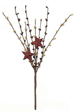 Red & Gold Pip Berry Pick with Glittered Stars