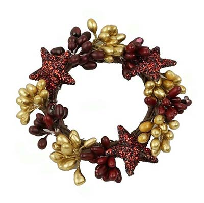 Red & Gold Pip Berry Ring with Glittered Stars