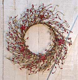 Red & Gold Pip Berry Wreath with Glittered Stars